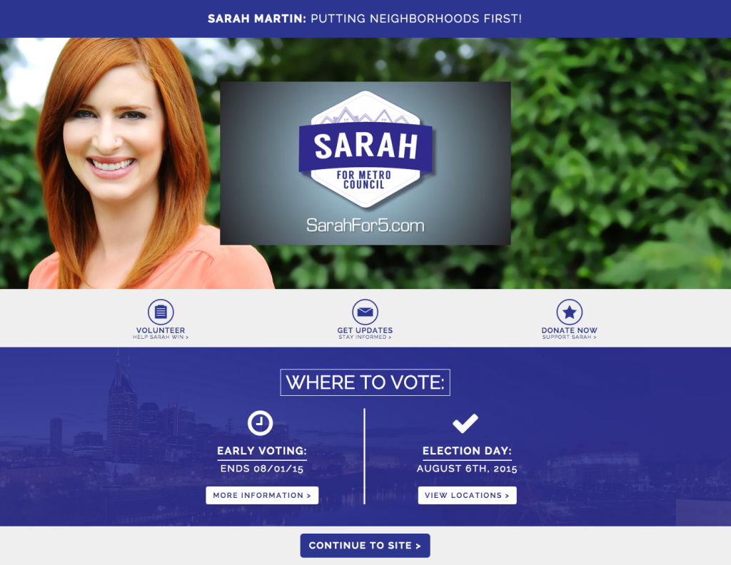 Sarah For 5 GOTV Landing Page