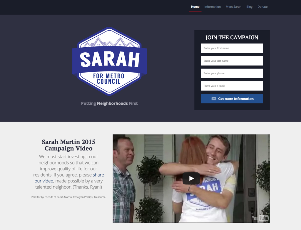 Sarah For 5 Website Design
