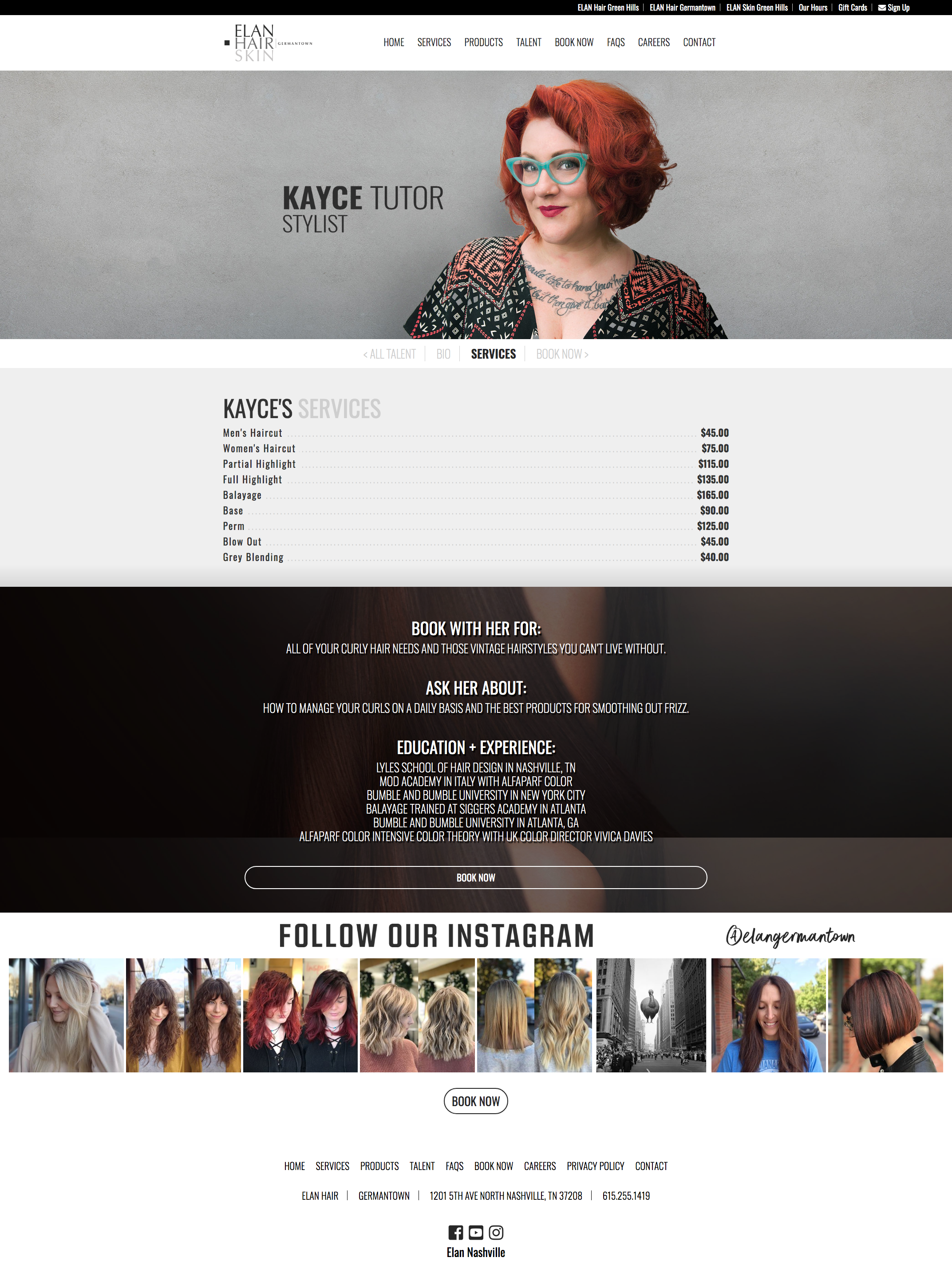 Employee Profile Page of Website
