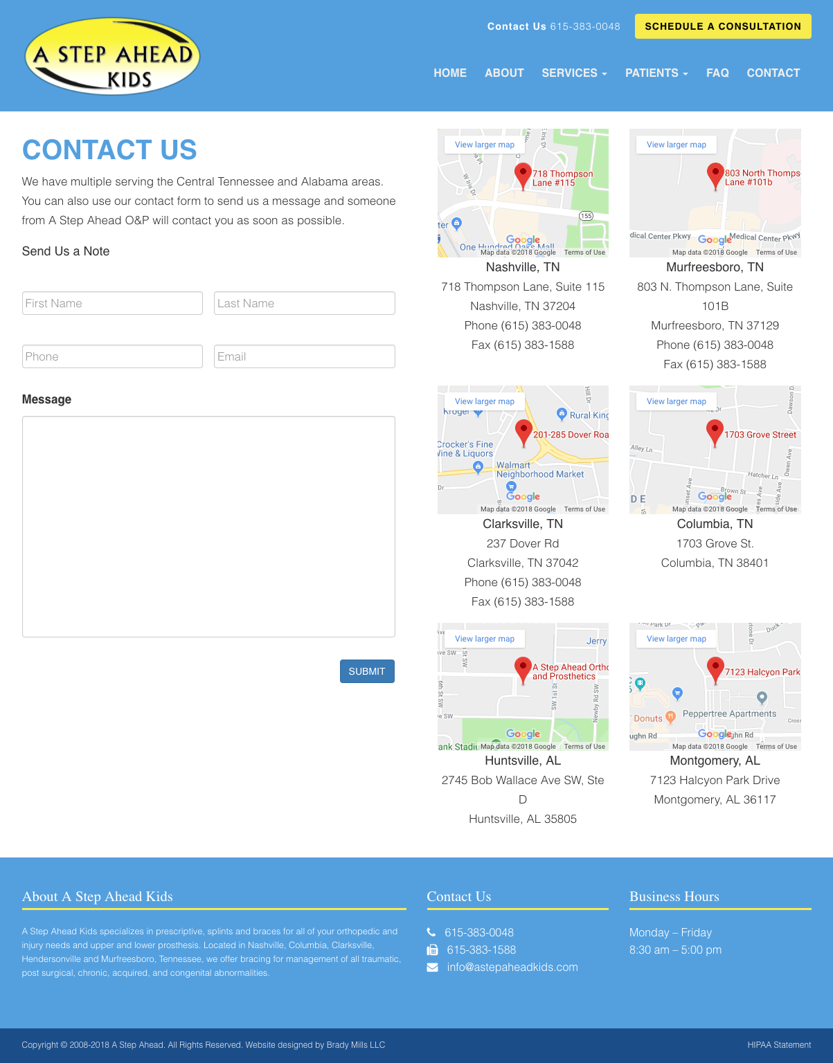 A Step Ahead Kids - Medical Website Design