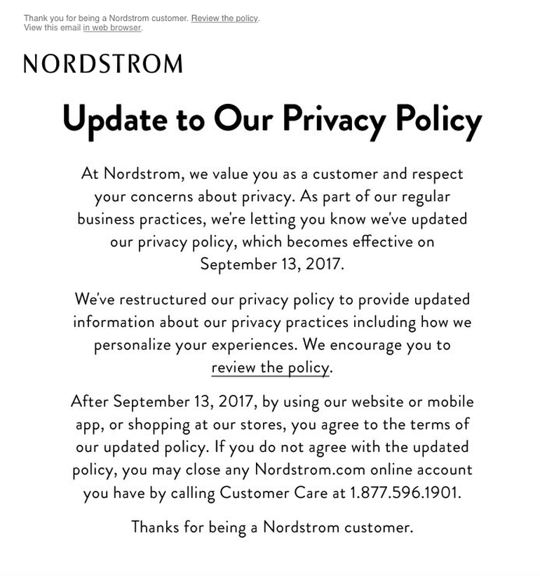 Nordstrom Privacy Policy Email Example