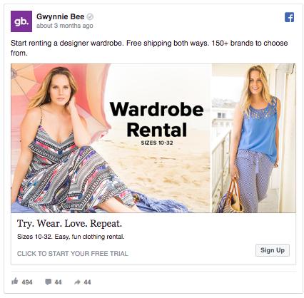 Domain Facebook Ad Example