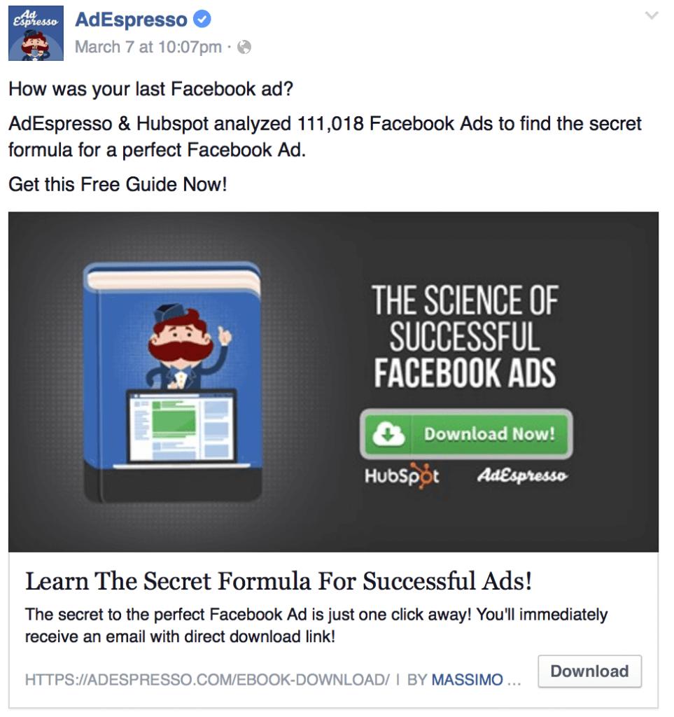 Lead Facebook Ad Example