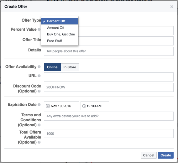 Offer Ad on Facebook example