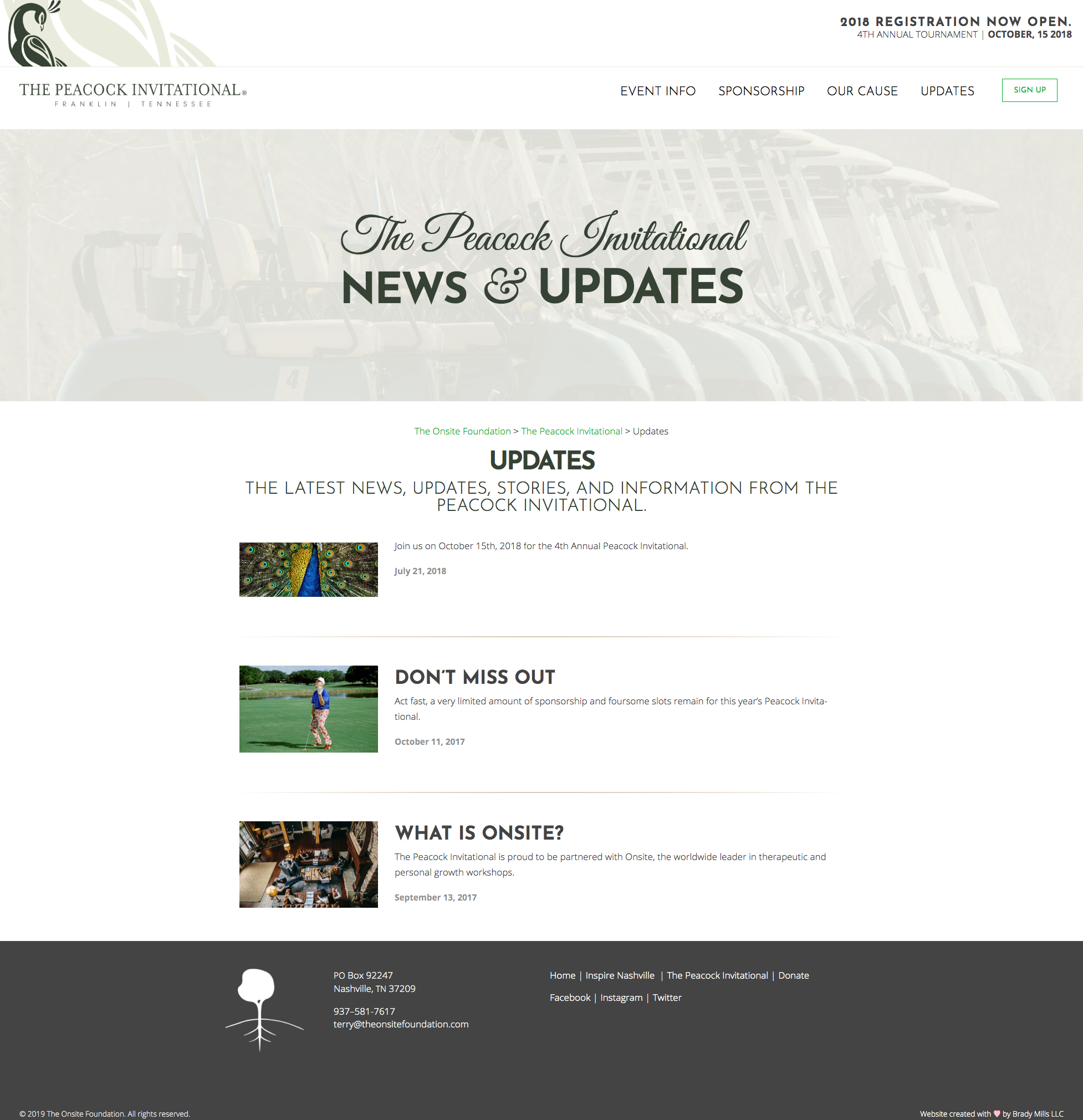 The Peacock Invitational Golfing and Sports Website Design